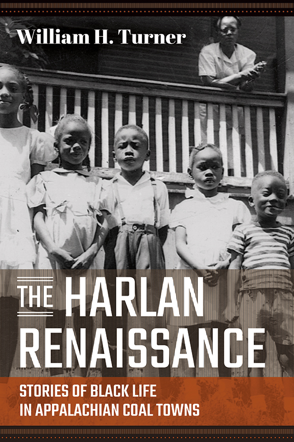 The Harlan Renaissance, black and white photo of five Black children arranged in heigh order in front of a front porch where a Black woman stands behind the railing